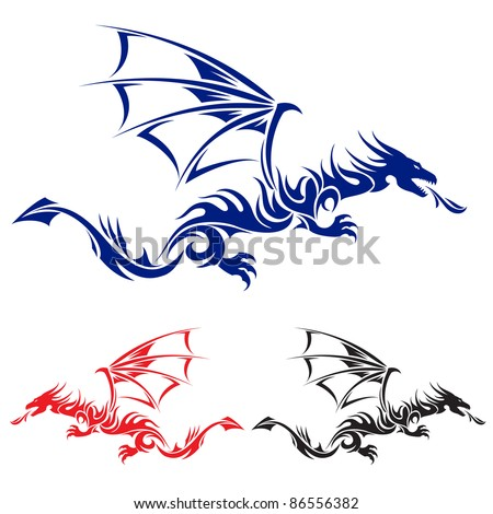 Flying Dragon. Blue, red and black Asian tattoo. Illustration on white background. - stock vector