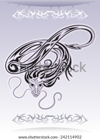 flying dragon tattoo vector