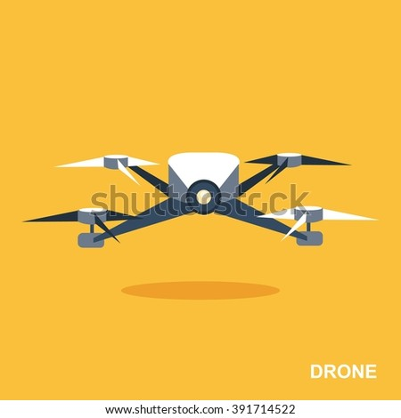 flying drone flat icon aerial
