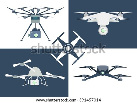 flying drone flat icons set of