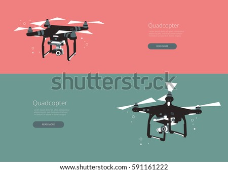 Shutterstock Flying drone. Set banner with black quad copter on  background. Flat  style.