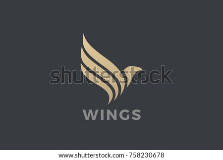 Flying Eagle Bird Wings abstract silhouette Logo design vector template. Golden Falcon Hawk luxury Logotype icon.