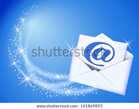 Flying envelope and paper with e-mail sign