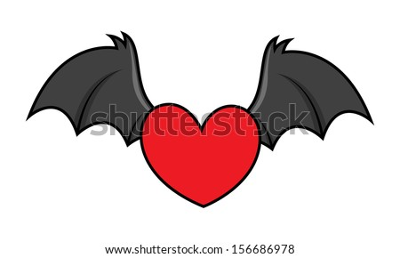 flying evil heart with bat