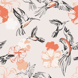 Flying exotic birds and hibiscus flowers seamless pattern. Line art sketch of parrots, hummingbirds, botanical florals. Art background for textile, fabric, wallpaper etc. Vector, EPS 10