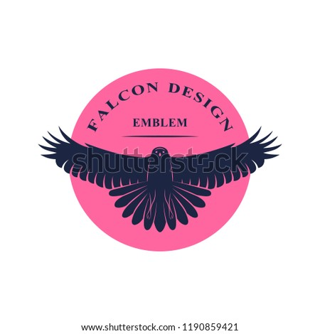 Flying Falcon. Elegant logo template. Silhouette of a wild bird with spread wings. Retro style. Art emblem. Vector illustration