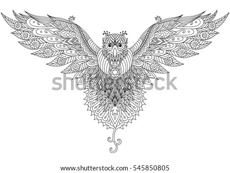 Flying Falcon Zendoodle Design For T Shirt Graphictattoologo And Adult Coloring
