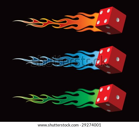 flying flaming dice