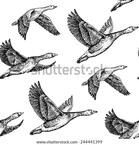 flying geese hand drawn