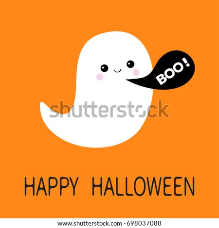 Flying ghost spirit. Black talking bubble Boo Happy Halloween. Cute cartoon spooky character. Greeting card Isolated. Flat design. Vector