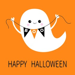 Flying ghost spirit holding bunting flag Boo. Happy Halloween. Scary white ghosts. Cute cartoon spooky character. Smiling face, hands. Orange background Greeting card. Flat design. Vector illustration