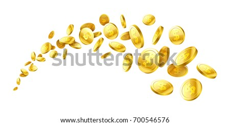 flying gold coins vector