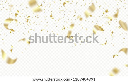 Flying golden confetti on transparent background. Vector holiday illustration. Festive decoration.