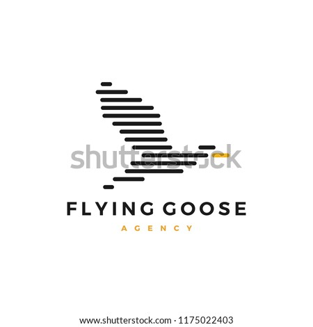 flying goose logo stripes vector illustration
