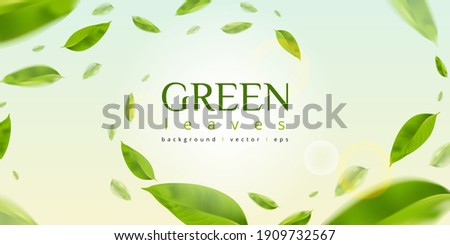 Flying green leaves effect with mild sunbeam in 3d illustration vector