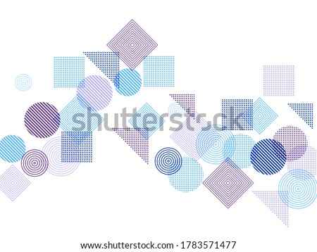 Flying halftone geometric shapes vector pattern graphic design. Abstract background with squares, circles, triangles. Progressive technological motion concept, scientific cover. Photo stock ©