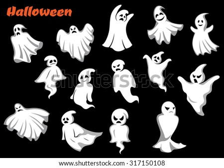 flying halloween monsters and