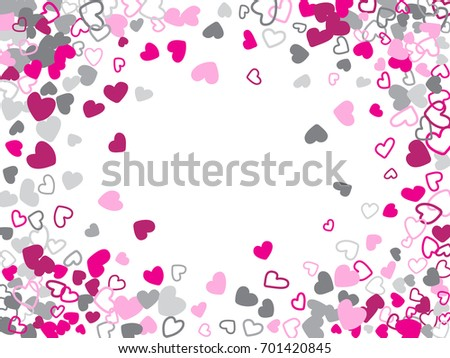 Flying Hearts Frame Vector Pattern Love Symbols Confetti Background