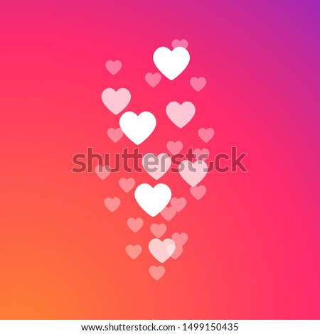 Flying hearts on a colorful abstract gradient background. Live video and flying likes. Social media concept. Vector illustration. EPS 10 Stock photo ©