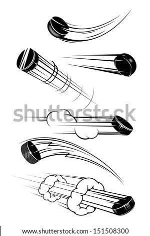 Flying hockey pucks set in cartoon style for sports design or idea of logo. Jpeg version also available in gallery