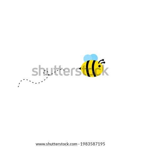Flying honey bee on white background. (Buzz illustration, vector, image) Photo stock ©
