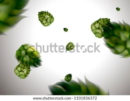 Flying hops flower design element in 3d illustration