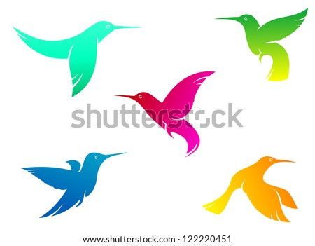 flying hummingbirds set with