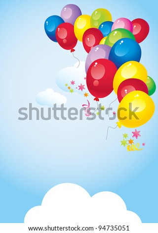 flying in the sky bright colorful balloons