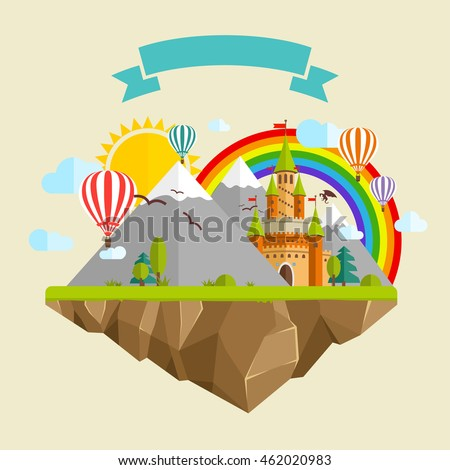 flying island with fairy tale
