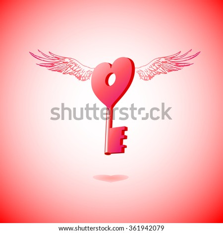 flying key to heart with wings