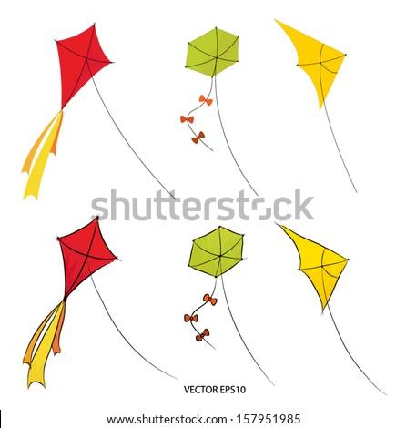 Flying kites vector drawing