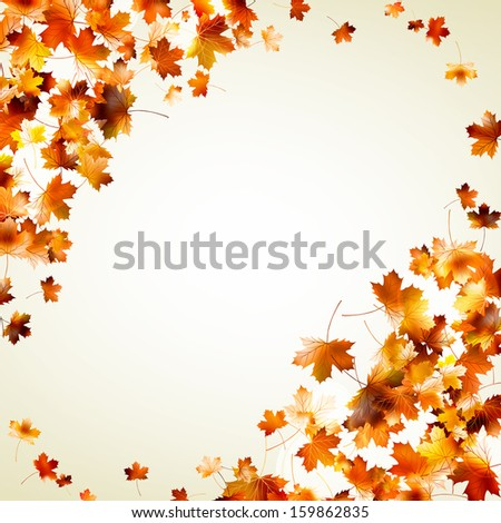 Flying leafs autumn background. And also includes EPS 10 vector