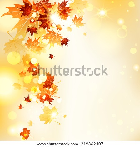 flying leaves with copy space