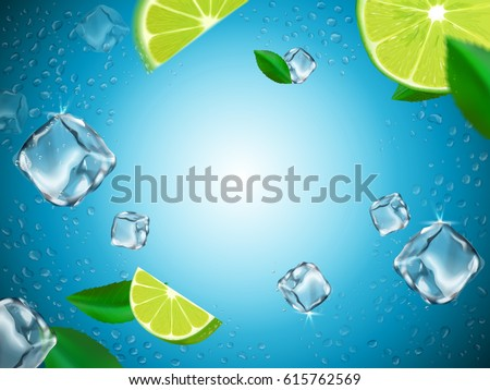 flying lemons, ice cubes and water drop elements, light blue glass background, 3d illustration