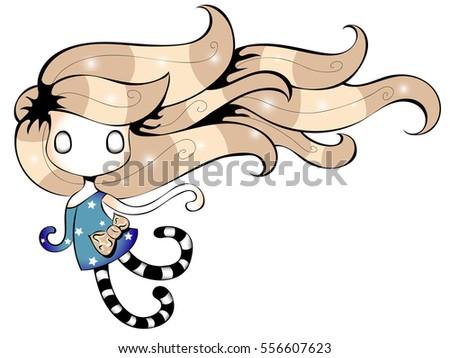 flying little girl cartoon
