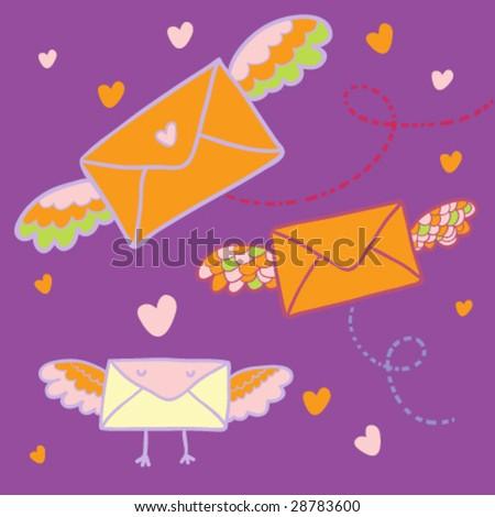 Flying mail - cartoon vector illustration