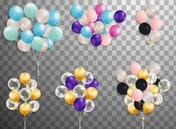 Flying Mega Set of colorful balloons  isolated. Party decoration for birthday, anniversary, celebration, event design. vector