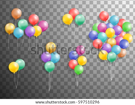 Flying Mega Set of colorful, shiny, holiday  balloons isolated. Party decorations for birthday, anniversary, celebration, event design,wedding. vector illustration