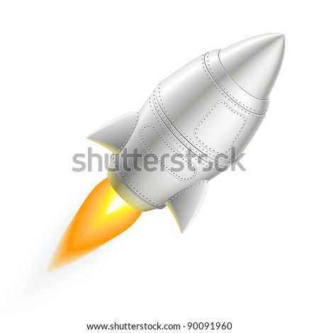 Flying metal rocket - EPS 8 vector icon