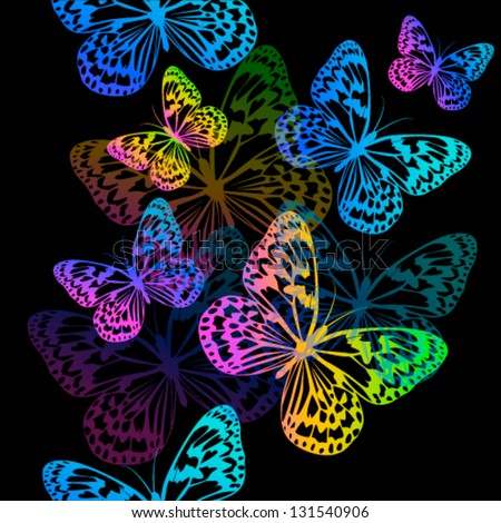 Flying Butterflies On A Black Background
