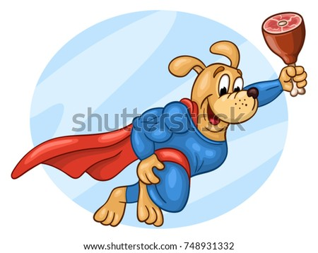 flying muscular dog in super