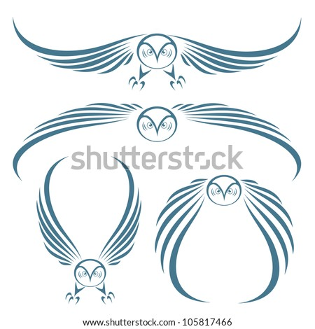 Flying owls tattoo - vector illustrations