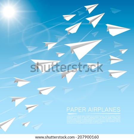 flying paper airplanes vector