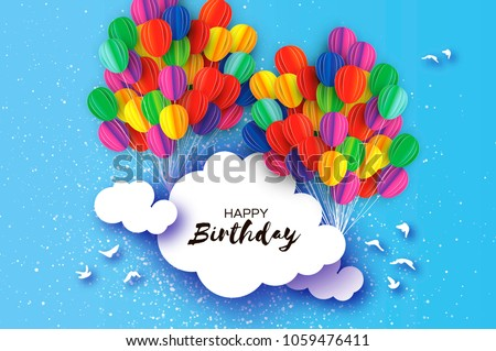 flying paper cut balloons in