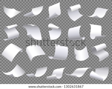 Flying paper pages. Falling papers documents sheets, document with curved corner and fly page sheet. Office file sheets pages. 3D realistic paperwork isolated vector objects set