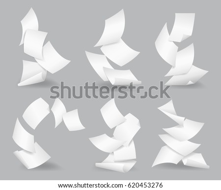 Flying paper sheets. Document blank business, white page, design bureaucracy, object fly, vector illustration