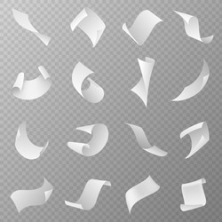 Flying papers. Blank white paper sheet falling down with curved corners. Pages in loose flight, scattered empty sheets realistic vector fly document paperwork set