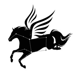 flying pegasus horse and star constellation - greek mythology inspiration symbol and astronomy silhouette black and white vector design