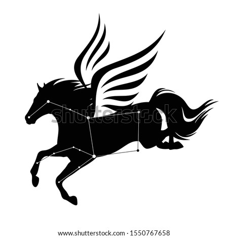 flying pegasus horse and star