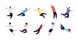 Flying people. Falling woman man. Dreams of persons, fly in air space. Floating pose, imagination and creativity character flight vector set